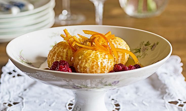 mandarinas acarameladas con frambuesas nicole etchebarne